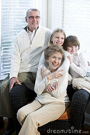 Portrait of children with grandparents