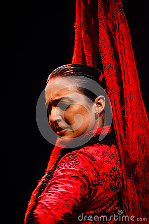 Portrait of a classical Andalusian Flamenco dancer Editorial Stock Photo