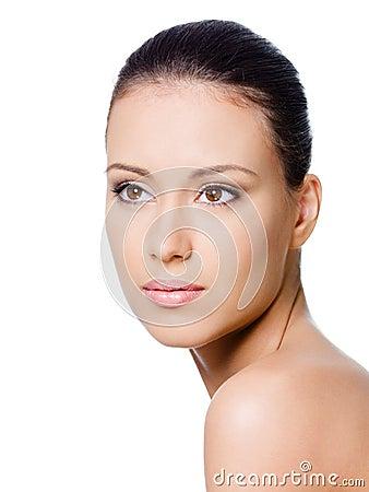 Portrait of clean woman s face