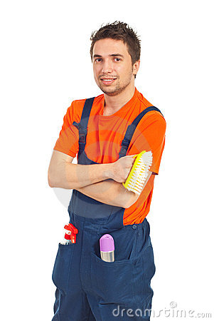 Portrait of cleaning worker man