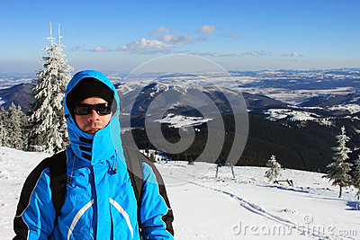 Portrait of a climber during winter time