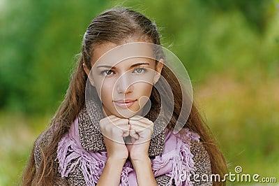 Portrait closeup of beautiful young