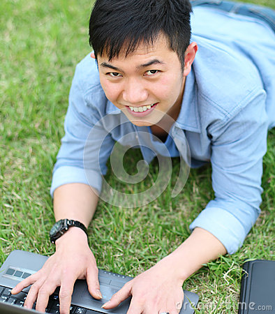 Portrait college student with laptop