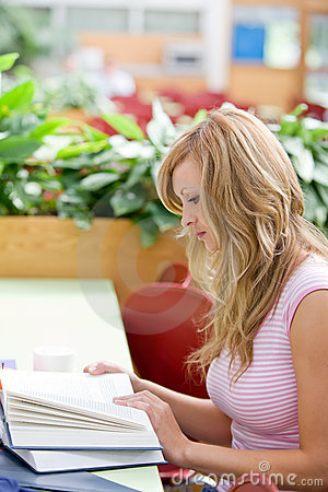Portrait of a concentrated female student working