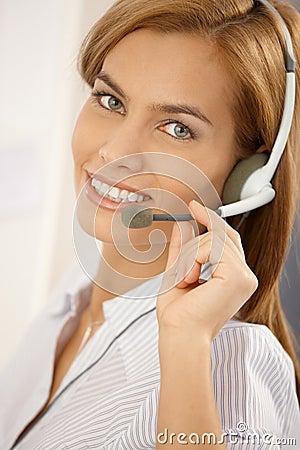 Portrait of confident call center girl