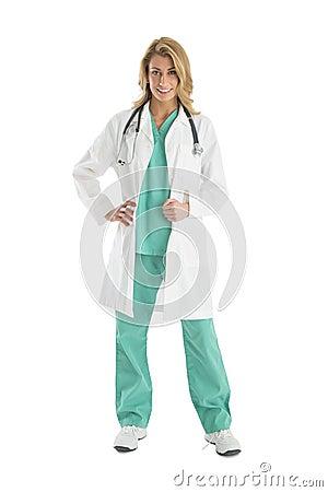 Female Medical Practitioner Wearing White Coat Stock Photo - Image
