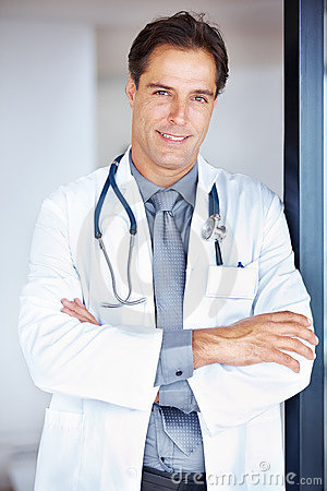 Portrait of a confident mature male doctor