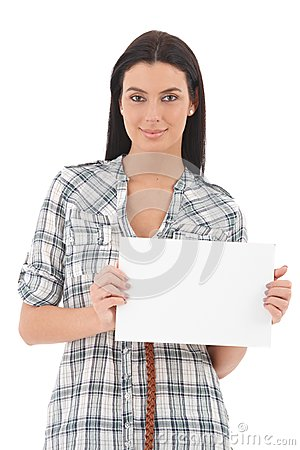 Portrait of confident young woman with blank sheet