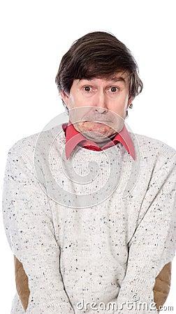 Portrait of a confused strange men