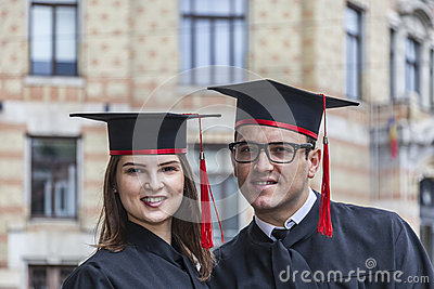Portrait of a Couple in the Graduation Day