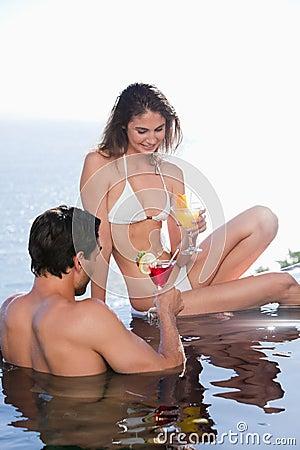Portrait of a couple having a cocktail