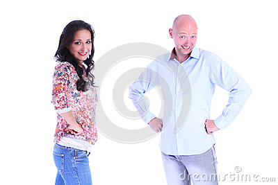 Portrait of couple.Man and woman looking to a camera