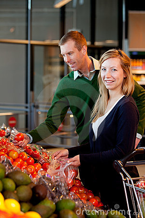 Portrait of Couple in Supermarket