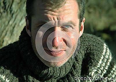 Portrait of courageous man