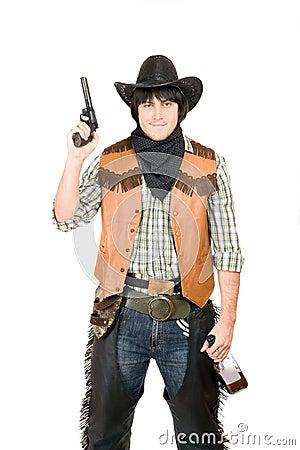 Portrait of cowboy with a gun