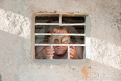 Portrait of a crazy prisoner