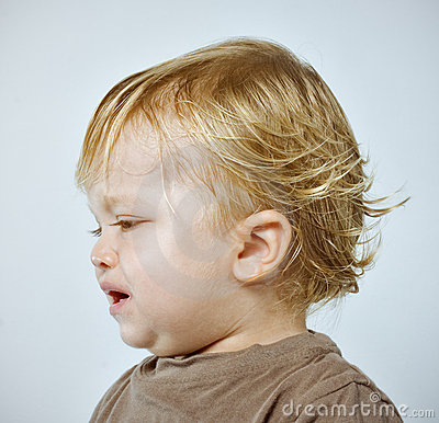 Portrait of a crying boy Stock Photo
