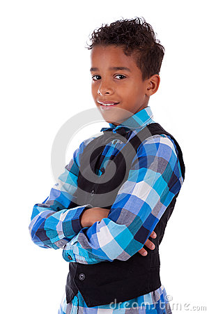 Portrait of a cute african american little boy with folded arms