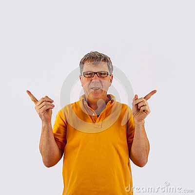 Portrait of cute handsome man gesturing with his hands