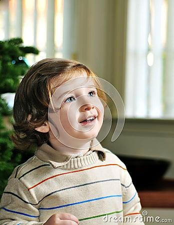 Portrait of cute little boy looking up