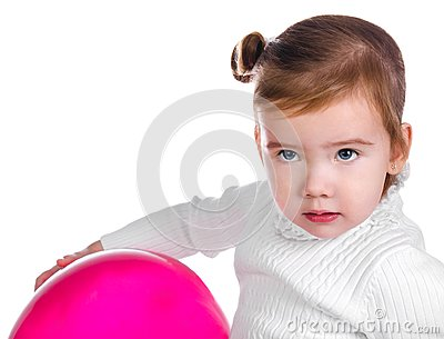 Portrait of cute little girl  with balloon