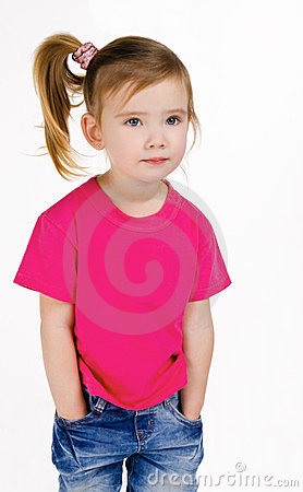 Portrait of cute little girl in jeans and t-shirt