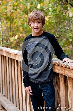 Portrait Cute Teen Boy Outdoors Stock Image