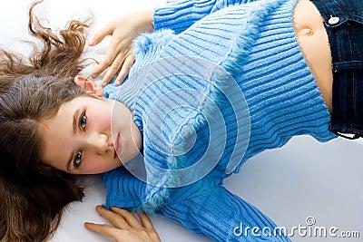 Portrait of cute teen girl