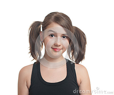 Portrait of cute teen girl with pony tails