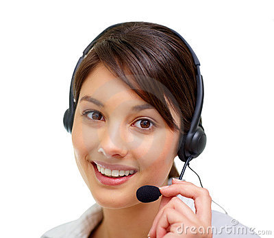 Portrait of a cute woman speaking on  headset