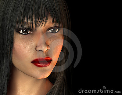 Portrait of dark haired woman with red lipstick