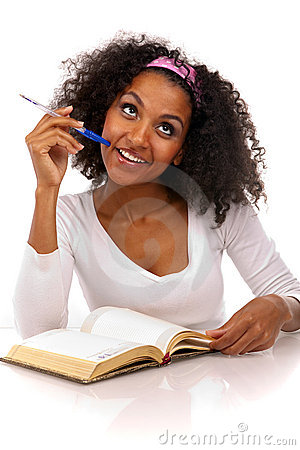 Portrait of a dark-skinned womannwith a notebook
