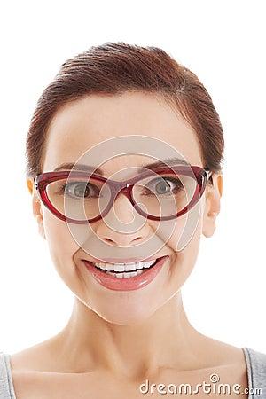 portrait de belle femme dans des lunettes rouges image stock image 35655771. Black Bedroom Furniture Sets. Home Design Ideas