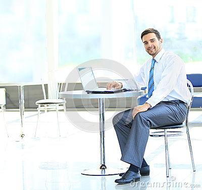 Portrait de directeur occupé dactylographiant sur l ordinateur portable