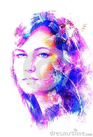 Portrait de jeune femme et oeil bleu avec l 39 oiseau la for Oiseau par la couleur