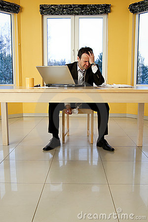 Portrait of despair businessman - bankrupt.