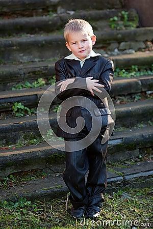 Portrait of diligent boy