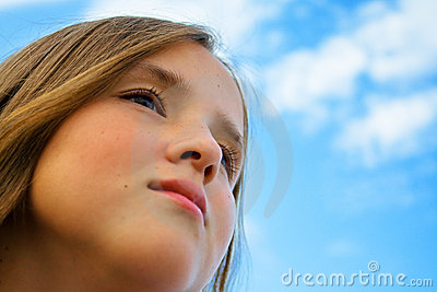 Portrait of dreamy young girl