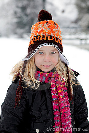 Portrait of Dutch girl in wintertime