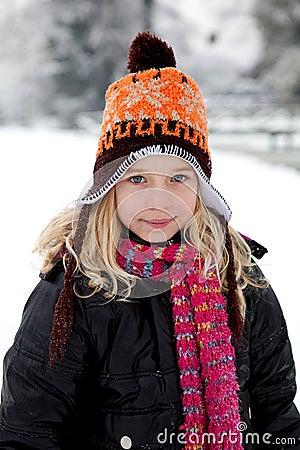 Portrait of Dutch girl in wintertime