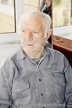 Portrait of elderly hoary man