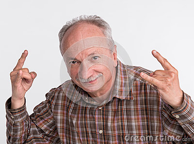 Portrait of an elderly man gesturing