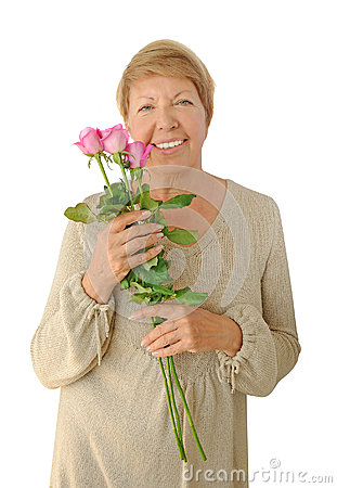 Portrait Of Elderly Woman With Bouquet Roses Royalty Free Stock Images ...