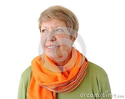 Portrait of elderly woman with orange cravat