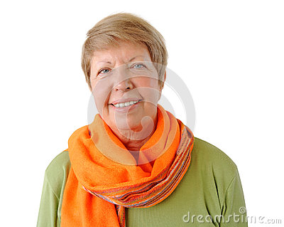 Portrait of elderly woman with orange cravat