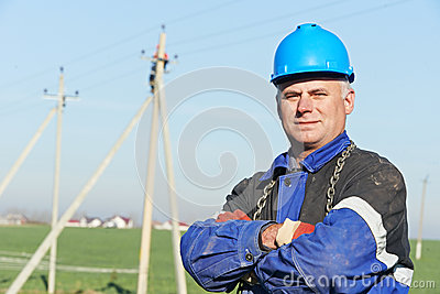 Portrait of electrician power lineman