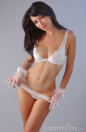 Portrait of elegant brunette woman sexy lingerie
