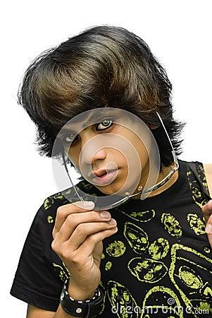 Portrait of emo teenager