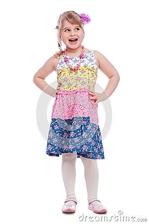 Portrait of emotionally little girl