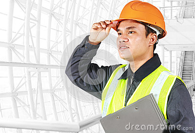 Portrait of an engineer looking at something